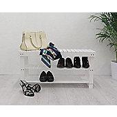 3-Tier Storage Shoe Rack/Bench, White