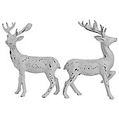 Set of 2 20cm Distressed White Glitter Polyresin Stag Christmas Ornaments