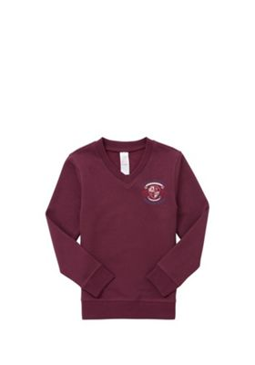 Unisex Embroidered Cotton Blend School V-Neck Sweatshirt with As New Technology 5-6 years Burgundy