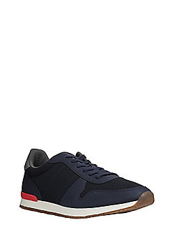 F&F Mesh Panel Faux Leather Trainers - Navy