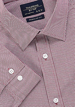 F&F Easy Care Gingham Regular Fit Long Sleeve Shirt - Red