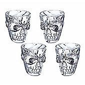 KitchenCraft Spookily Does It Novelty Plastic Skull Shot Glasses, 50ml, Set of 4