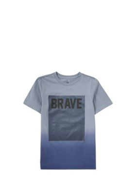 F&F Brave Slogan Ombre T-Shirt Blue 5-6 years
