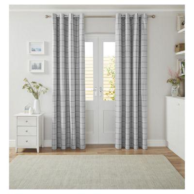 Tesco Check Curtains Grey - 66x90