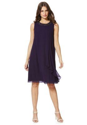 Roman Originals Embellished Neck Sleeveless Chiffon Dress 16 Purple