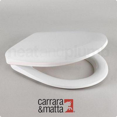 Carrara and Matta Avon Thermoset D-Shaped Toilet Seat, White, Polished Stainless Steel Hinges