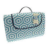 Country Club Jumbo Picnic Blanket, 150 x 200cm, Green & White Geometric