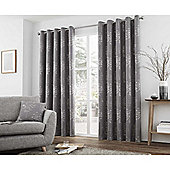 Curtina Elmwood Graphite Eyelet Curtains - 90x72 Inches (229x183cm)