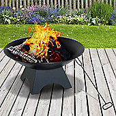 Outsunny Steel Firepit Bowl Wood Burning Round with Porker