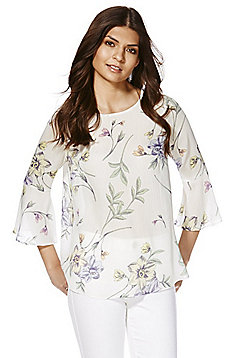 F&F Floral Flute Sleeve Top - White