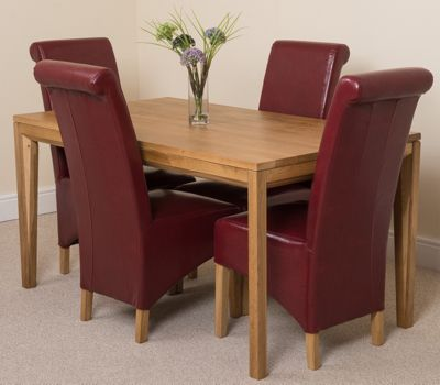 Bevel Solid Oak 150 cm Dining Table with 4 Burgundy Montana Chairs