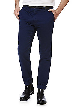 F&F Sateen Slim Fit Stretch Chinos With Belt - Navy