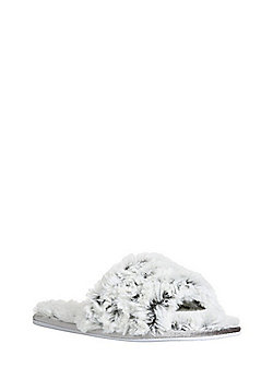 F&F Tipped Faux Fur Slider Slippers - Grey