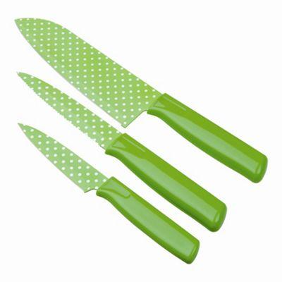 Kuhn Rikon Colori Art 3 Piece Kitchen Knife Set - Lime Green