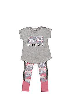 F&F Mermaid Slogan T-Shirt and Camo Print Leggings Set - Grey