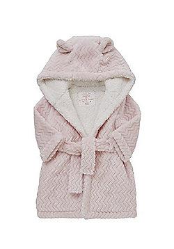 F&F Chevron Fleece Hooded Robe - Pink