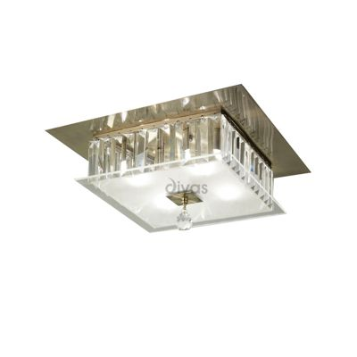 Tosca Ceiling Square 4 Light Antique Brass/Glass/Crystal