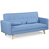 Boston Blue Fabric 3 Seater Modern Sofa Bed