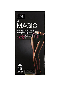 F&F 2 Pack of Magic Shapewear 15 Denier Shaper Tights with Lycra® - Black