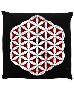Flower Of Life Cushion 40x40cm Black