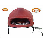 Table-top Mexican clay pizza oven
