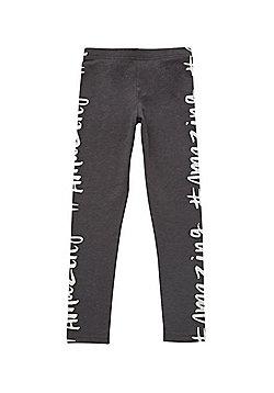 F&F #Amazing Slogan Leggings - Grey