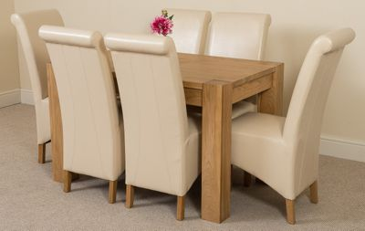 Kuba Chunky Solid Oak 125 cm Dining Table with 6 Ivory Montana Chairs