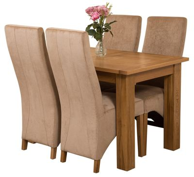 Hampton Extending Kitchen Solid Oak Dining Set Table and 4 Beige Fabric Chairs