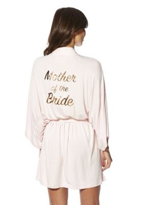 F&F Mother of the Bride Foil Slogan Jersey Robe Blush XL