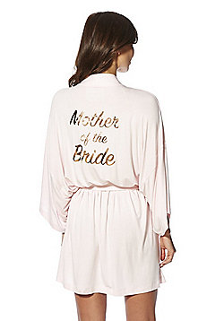 F&F Mother of the Bride Foil Slogan Jersey Robe - Blush