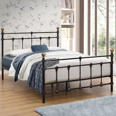 Happy Beds Atlas Metal High Foot End Bed with Pocket Spring Mattress - Black - 4ft Small Double