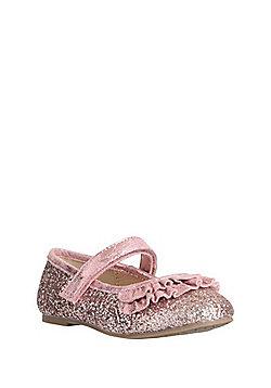 F&F Glitter Ruffle Trim Mary Jane Pumps - Pink