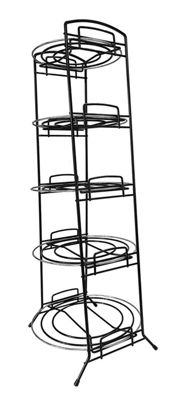 Delfinware 5 Tier Freestanding Saucepan Pan Stand, Black with Chrome Inserts