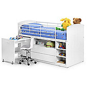 Happy Beds Leo White Wooden and Metal Kids Mid Sleeper Sleep Station Desk Cabin Storage Bed Spring Mattress 3ft Single