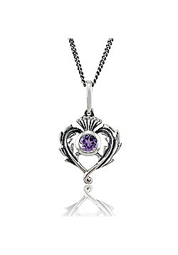 Gemondo Sterling Silver 0.20ct Amethyst Thistle Style 45cm Necklace