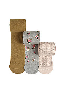 F&F 3 Pack of Floral and Cable Knit Tights - Multi