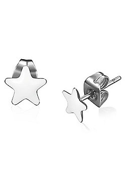 Urban Male White Resin & Stainless Steel Star Stud Earrings 7mm