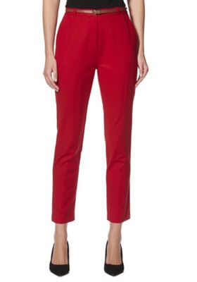 F&F Belted Slim Fit Trousers Red 8