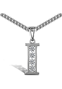 Sterling Silver Cubic Zirconia Identity Pendant - Initial I - 18inch Chain