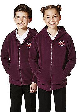Unisex Embroidered School Zip-Through Fleece with Hood - Burgundy