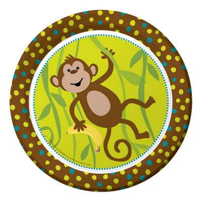 Monkeying around Party Paper Plates 23cm - 8 Pack