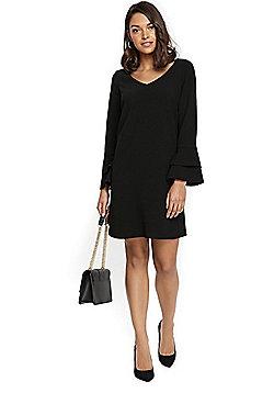 Wallis Petite Double Flute V-Neck Dress - Black