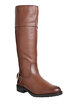 F&F Textured Leather Knee High Boots - Tan
