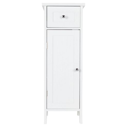 Southwold Bathroom Single Door & Drawer Unit, White Wood Tongue & Groove