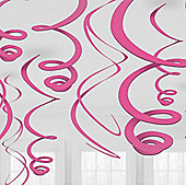 Pink Hanging Swirl Decorations - 55cm