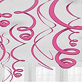 Pink Hanging Swirl Decorations - 55cm