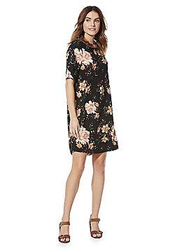 Vero Moda Floral Shift Dress - Black Multi