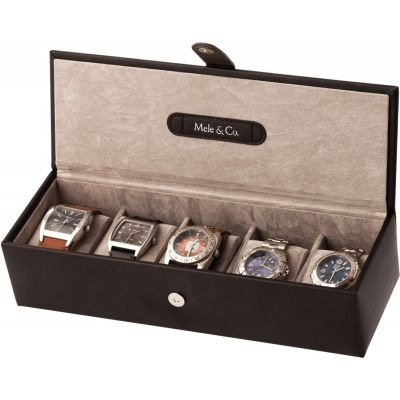 Black Bonded Leather 5 Place Watch Box