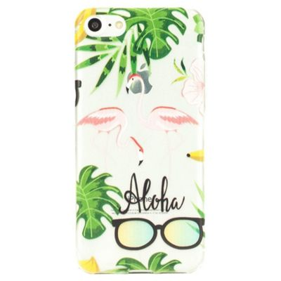 iPhone 7 'Aloha' Tropical Flamingo Clear Silicone Case - Multi