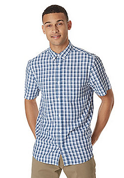 F&F Soft Touch Button-Down Collar Checked Shirt - Blue & White